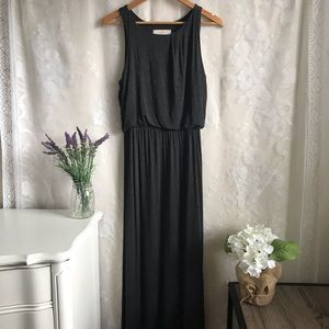 Ann Taylor Loft Dark Gray Maxi Dress Sleeveless S